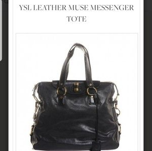 ❤YSL Leather Muse Messenger Tote